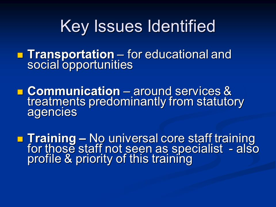 Key Issues Identified Transportation – for educational and social opportunities Transportation – for educational and social opportunities Communication – around services & treatments predominantly from statutory agencies Communication – around services & treatments predominantly from statutory agencies Training – No universal core staff training for those staff not seen as specialist - also profile & priority of this training Training – No universal core staff training for those staff not seen as specialist - also profile & priority of this training