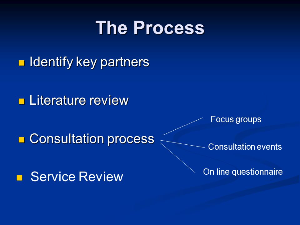The Process Identify key partners Identify key partners Literature review Literature review Consultation process Consultation process Focus groups Consultation events On line questionnaire Service Review