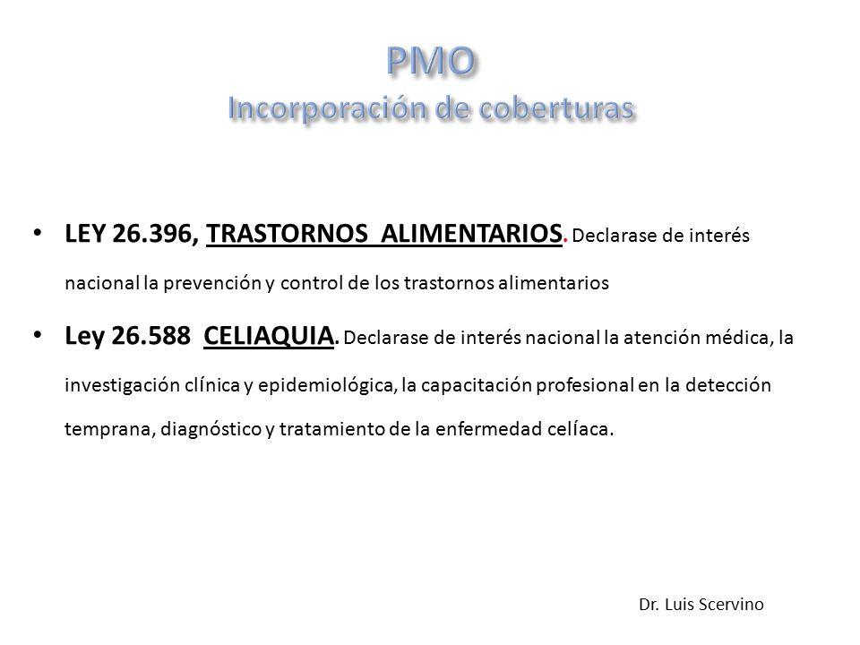 LEY 26.396, TRASTORNOS ALIMENTARIOS.