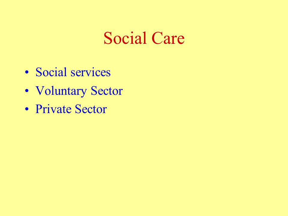 Social Care Social services Voluntary Sector Private Sector