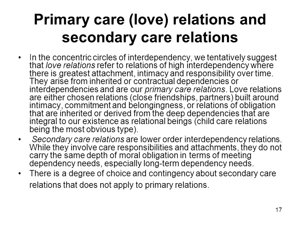 17 Primary care (love) relations and secondary care relations In the concentric circles of interdependency, we tentatively suggest that love relations refer to relations of high interdependency where there is greatest attachment, intimacy and responsibility over time.