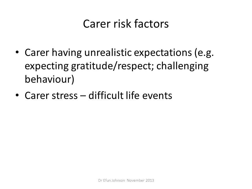 Carer risk factors Carer having unrealistic expectations (e.g. expecting gratitude/respect; challenging behaviour) Carer stress – difficult life event