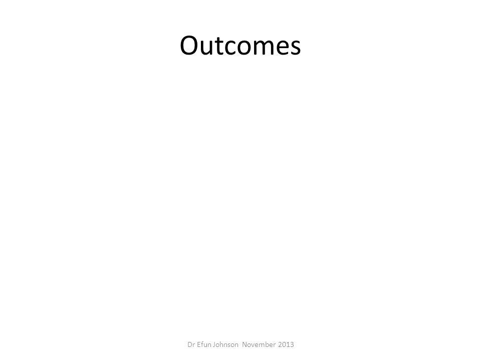 Outcomes Dr Efun Johnson November 2013