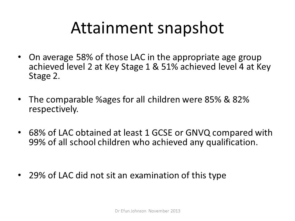 Attainment snapshot On average 58% of those LAC in the appropriate age group achieved level 2 at Key Stage 1 & 51% achieved level 4 at Key Stage 2. Th