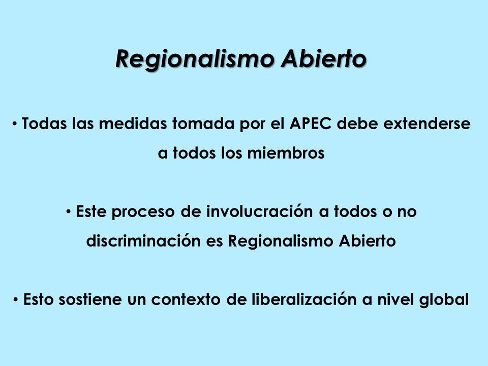 Regionalismo Abierto Todas las medidas tomada por el APEC debe extenderse a todos los miembros Este proceso de involucración a todos o no discriminación es Regionalismo Abierto Esto sostiene un contexto de liberalización a nivel global