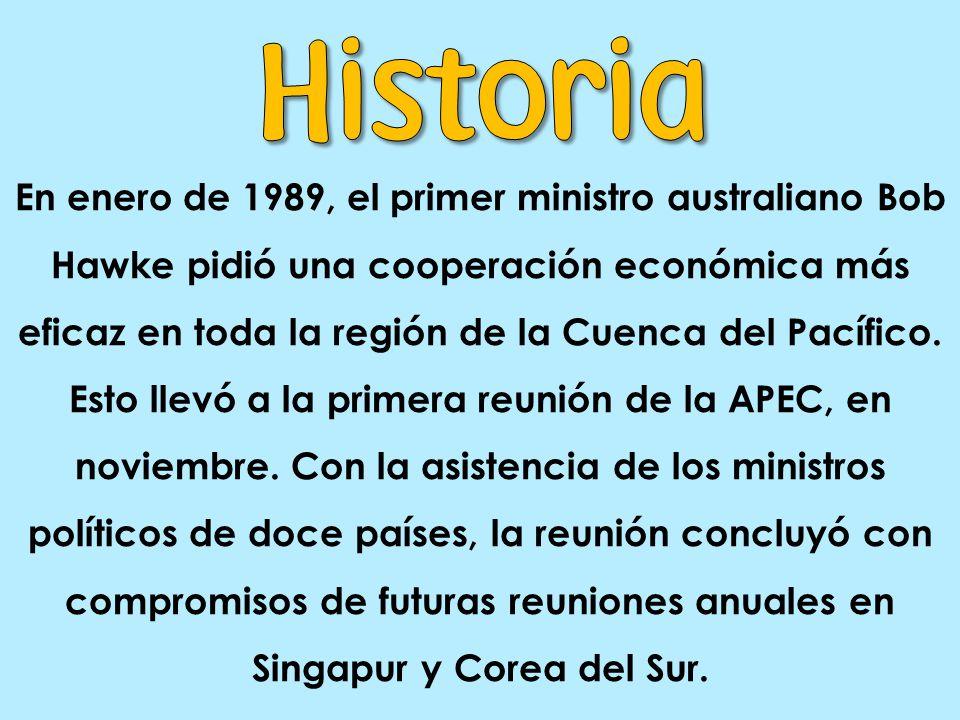 En enero de 1989, el primer ministro australiano Bob Hawke pidió una cooperación económica más eficaz en toda la región de la Cuenca del Pacífico.