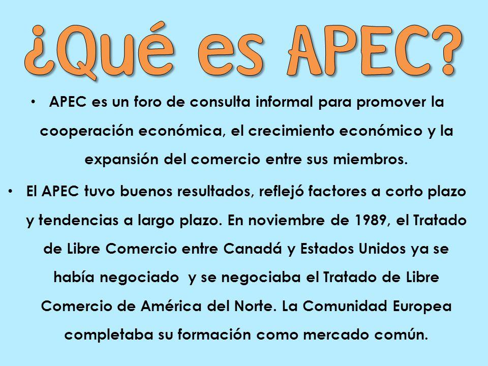 APEC es un foro de consulta informal para promover la cooperación económica, el crecimiento económico y la expansión del comercio entre sus miembros.