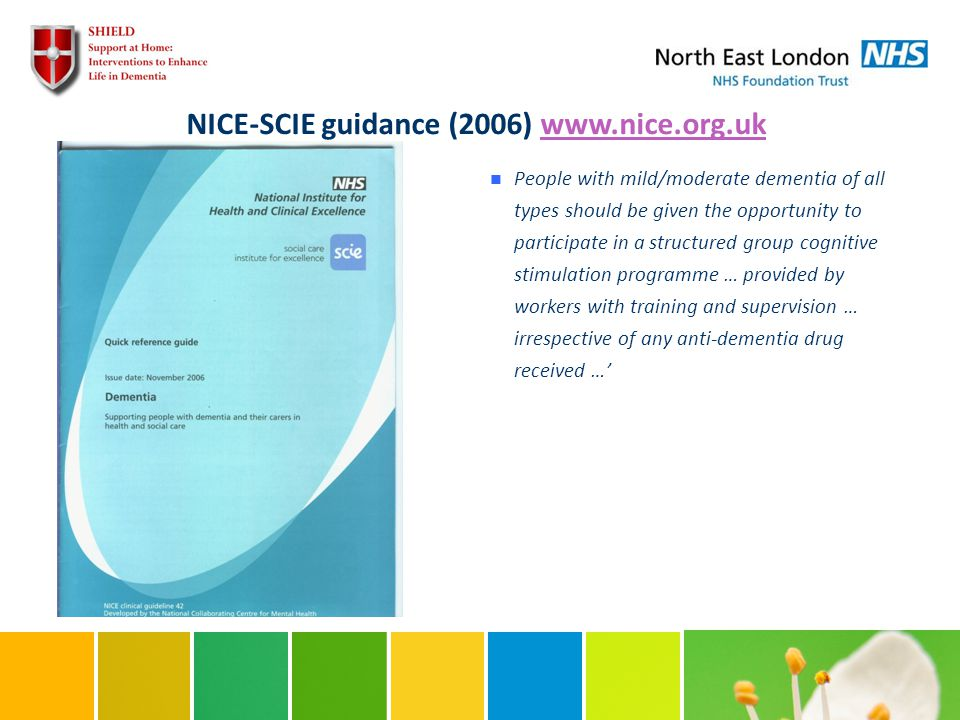 NICE-SCIE guidance (2006) www.nice.org.ukwww.nice.org.uk People with mild/moderate dementia of all types should be given the opportunity to participate in a structured group cognitive stimulation programme … provided by workers with training and supervision … irrespective of any anti-dementia drug received …'