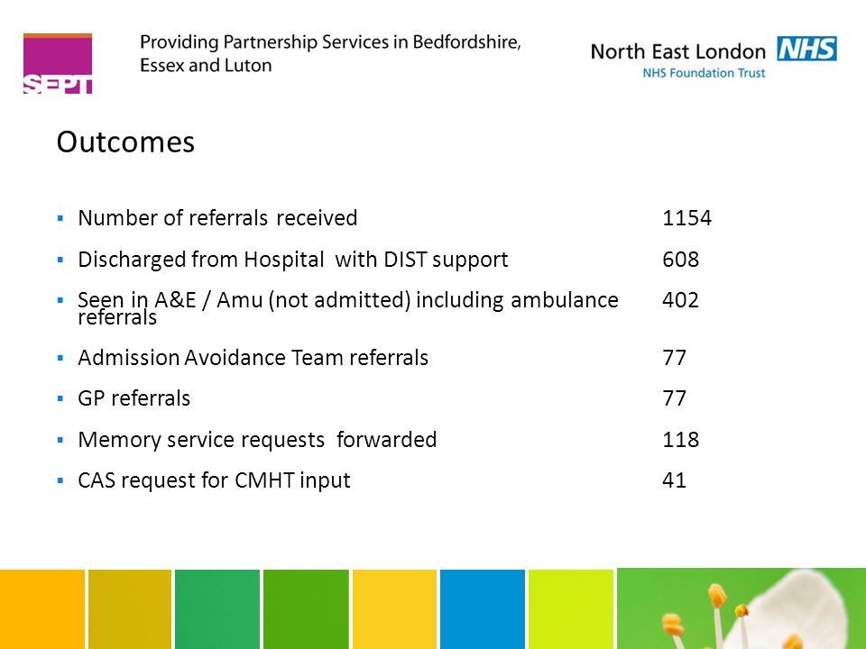 Outcomes  Number of referrals received 1154  Discharged from Hospital with DIST support 608  Seen in A&E / Amu (not admitted) including ambulance 4
