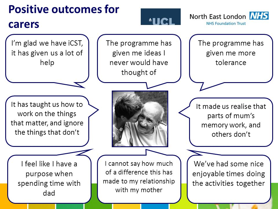 Positive outcomes for carers The programme has given me more tolerance We've had some nice enjoyable times doing the activities together The programme