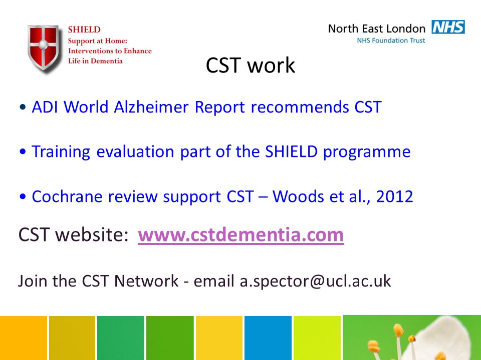 CST work ADI World Alzheimer Report recommends CST Training evaluation part of the SHIELD programme Cochrane review support CST – Woods et al., 2012 CST website: www.cstdementia.comwww.cstdementia.com Join the CST Network - email a.spector@ucl.ac.uk