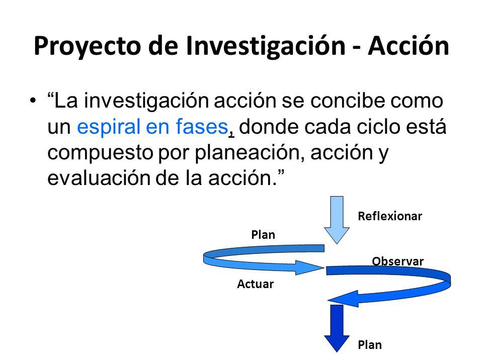 """Proyecto de Investigación - Acción """"La investigación acción se concibe como un espiral en fases, donde cada ciclo está compuesto por planeación, acció"""