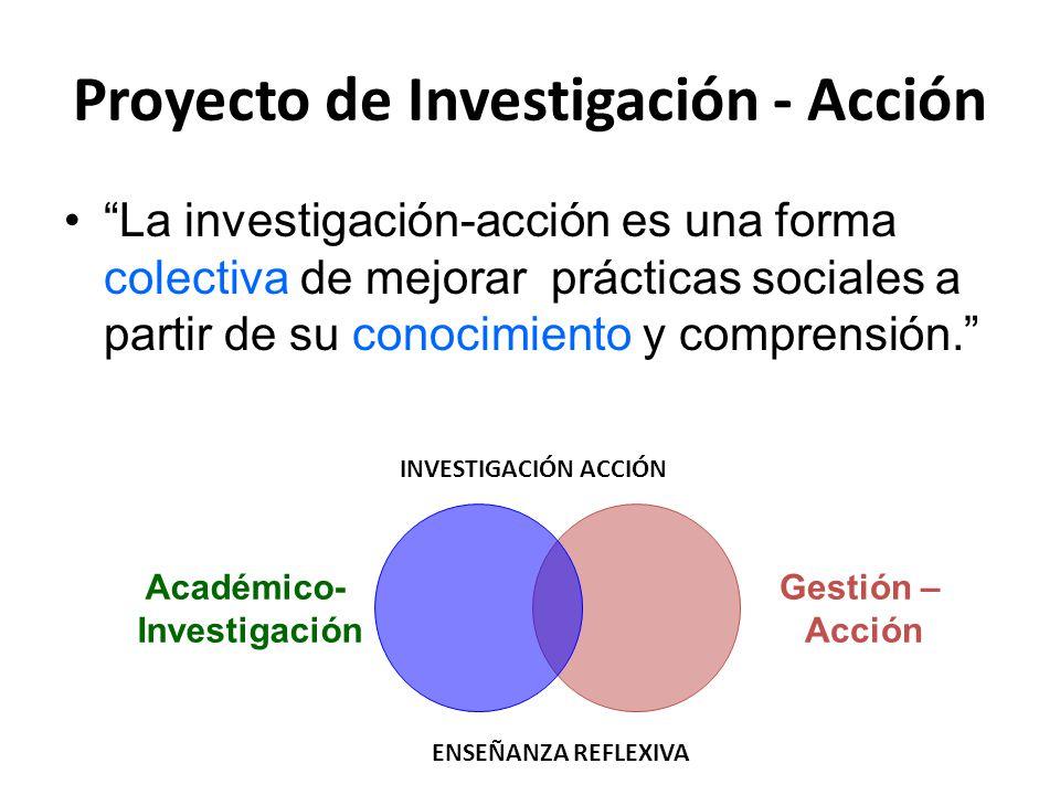 """Proyecto de Investigación - Acción """"La investigación-acción es una forma colectiva de mejorar prácticas sociales a partir de su conocimiento y compren"""