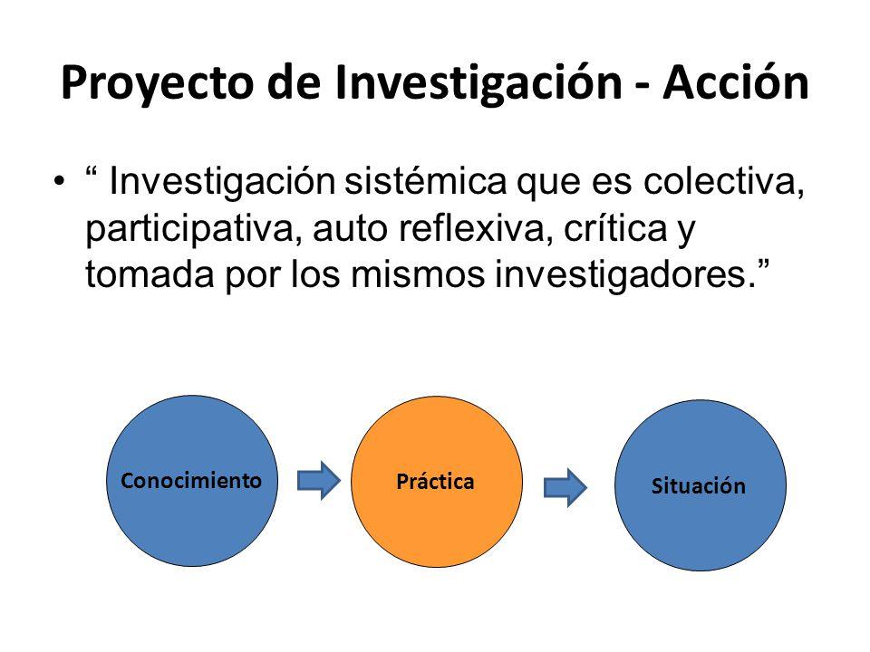 """Proyecto de Investigación - Acción """" Investigación sistémica que es colectiva, participativa, auto reflexiva, crítica y tomada por los mismos investig"""