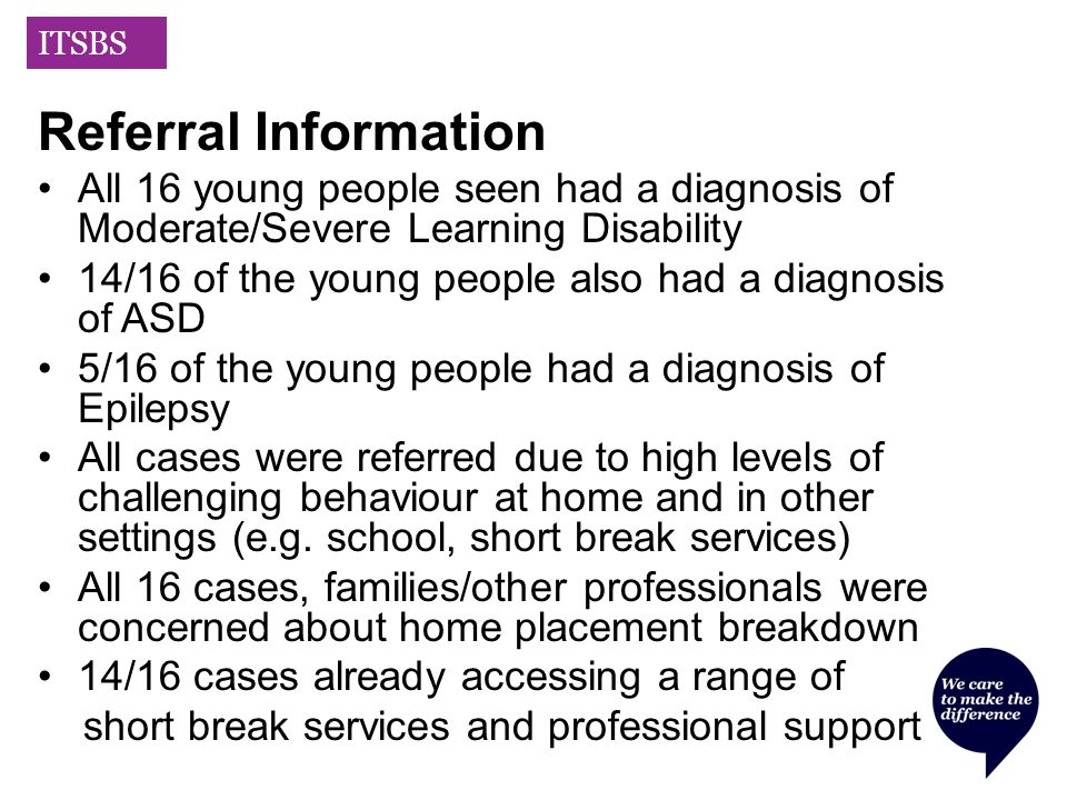 ITSBS Referral Information All 16 young people seen had a diagnosis of Moderate/Severe Learning Disability 14/16 of the young people also had a diagnosis of ASD 5/16 of the young people had a diagnosis of Epilepsy All cases were referred due to high levels of challenging behaviour at home and in other settings (e.g.