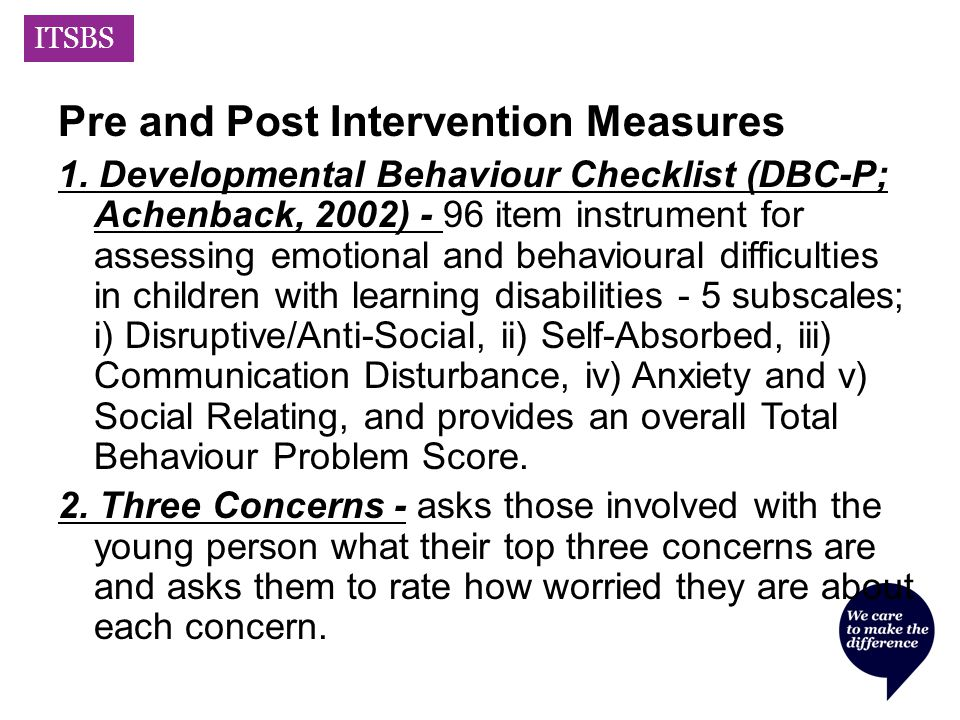 ITSBS Pre and Post Intervention Measures 1.
