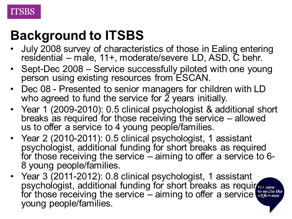 ITSBS Background to ITSBS July 2008 survey of characteristics of those in Ealing entering residential – male, 11+, moderate/severe LD, ASD, C behr.