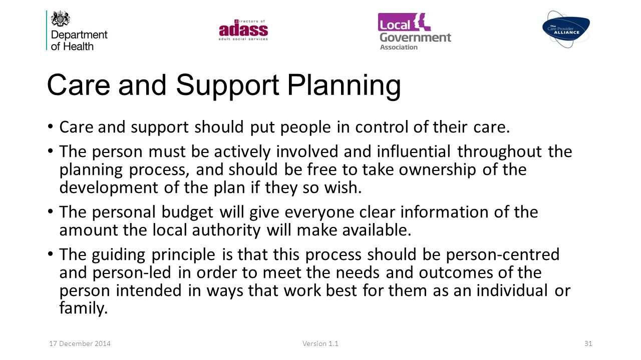 Care and Support Planning Care and support should put people in control of their care.