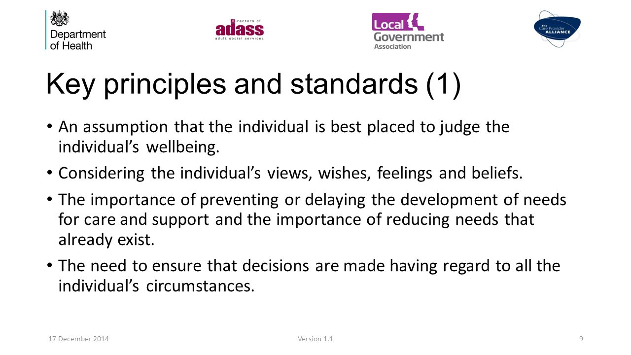 Key principles and standards (2) The importance of the individual participating as much possible.