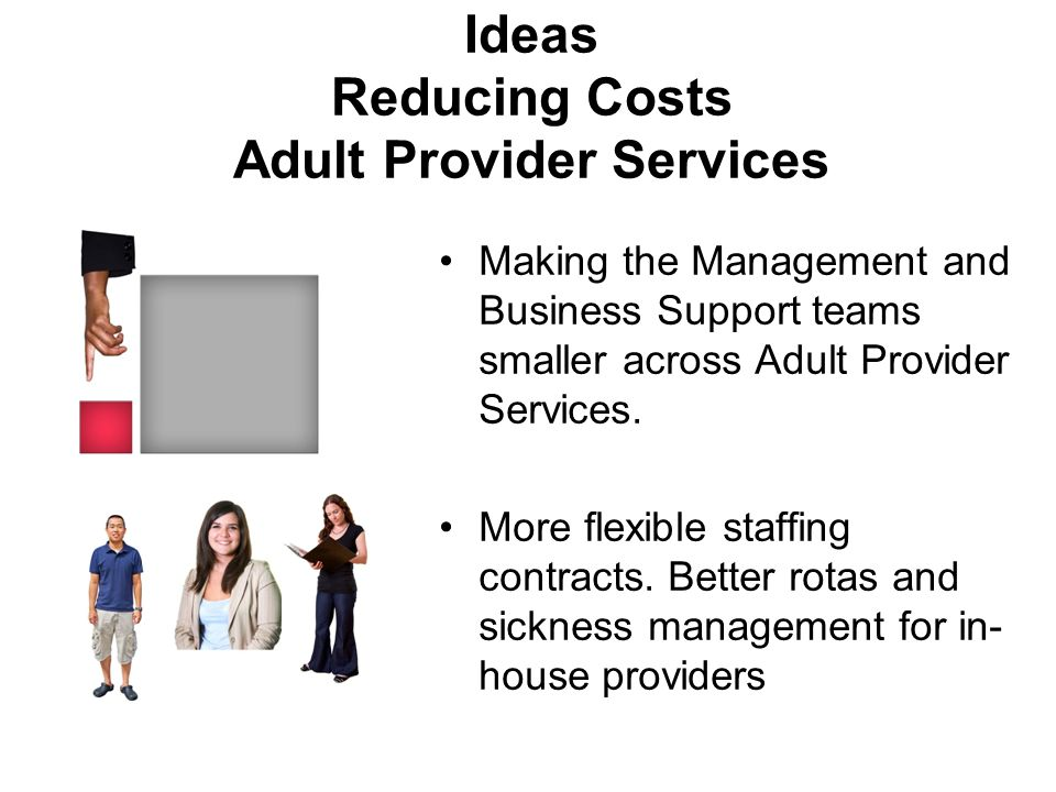 Ideas Reducing Costs Adult Provider Services Making the Management and Business Support teams smaller across Adult Provider Services.