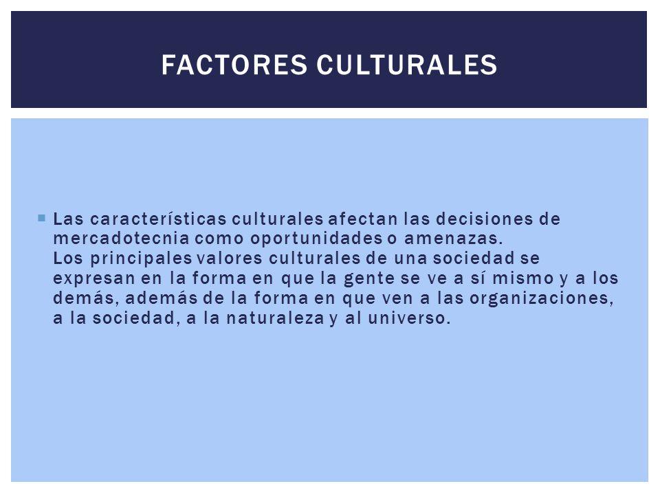  Las características culturales afectan las decisiones de mercadotecnia como oportunidades o amenazas. Los principales valores culturales de una soci