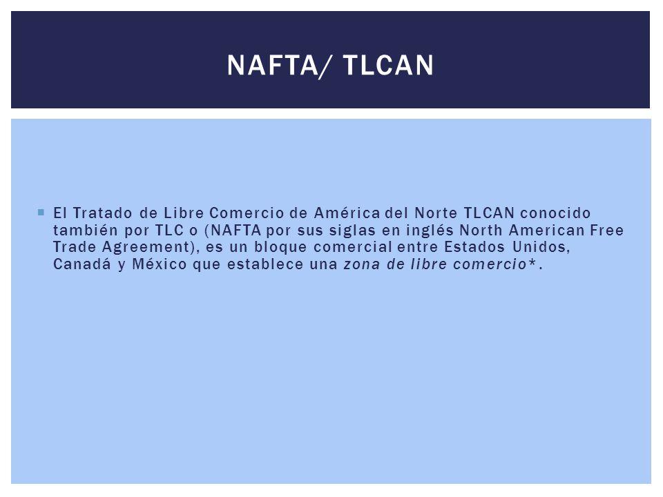  El Tratado de Libre Comercio de América del Norte TLCAN conocido también por TLC o (NAFTA por sus siglas en inglés North American Free Trade Agreeme