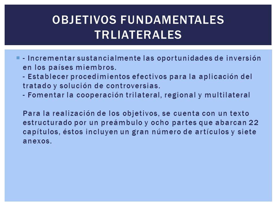  - Incrementar sustancialmente las oportunidades de inversión en los países miembros. - Establecer procedimientos efectivos para la aplicación del tr