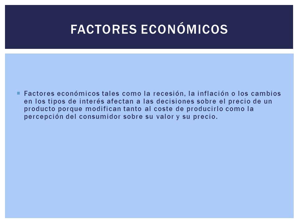  Factores económicos tales como la recesión, la inflación o los cambios en los tipos de interés afectan a las decisiones sobre el precio de un produc