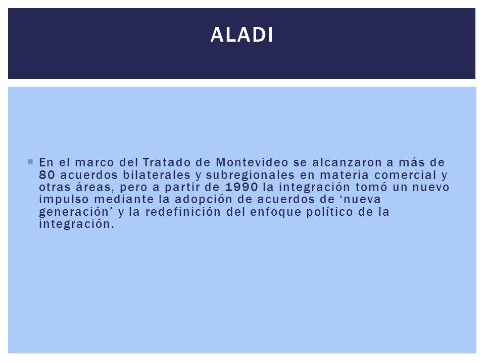  En el marco del Tratado de Montevideo se alcanzaron a más de 80 acuerdos bilaterales y subregionales en materia comercial y otras áreas, pero a part