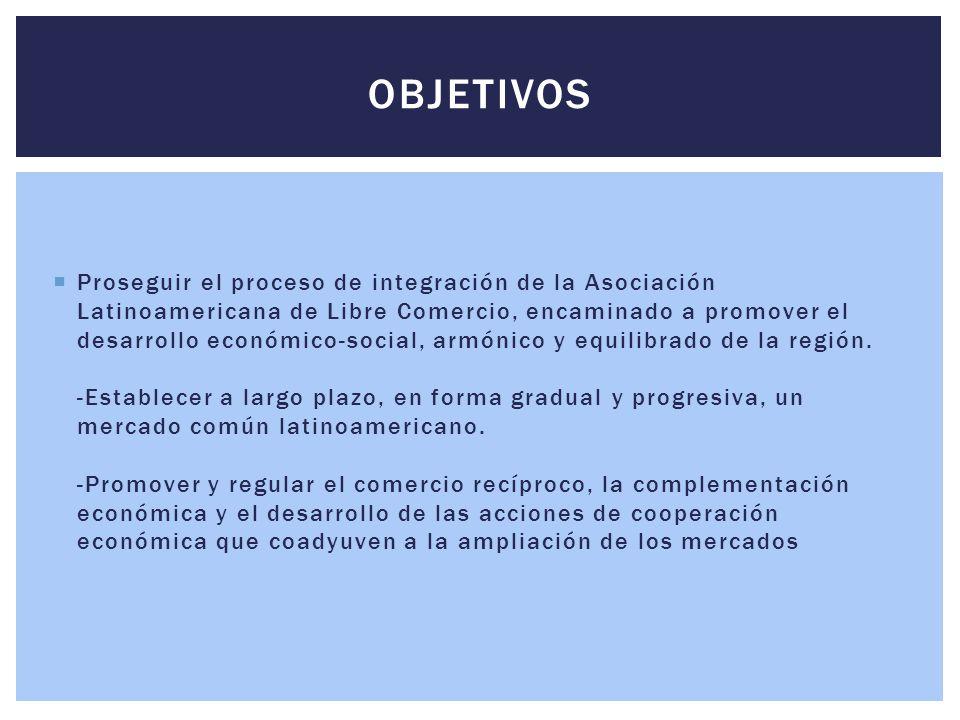  Proseguir el proceso de integración de la Asociación Latinoamericana de Libre Comercio, encaminado a promover el desarrollo económico-social, armóni