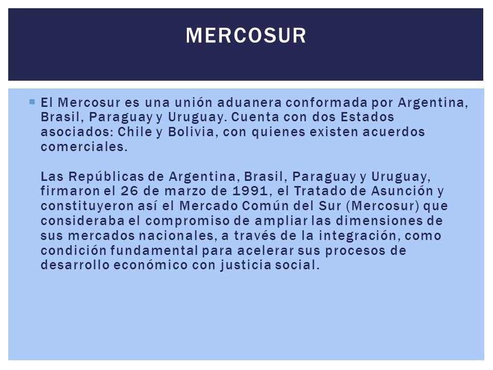  El Mercosur es una unión aduanera conformada por Argentina, Brasil, Paraguay y Uruguay. Cuenta con dos Estados asociados: Chile y Bolivia, con quien