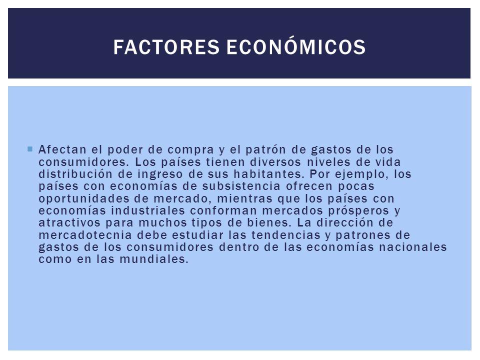  Afectan el poder de compra y el patrón de gastos de los consumidores. Los países tienen diversos niveles de vida distribución de ingreso de sus habi