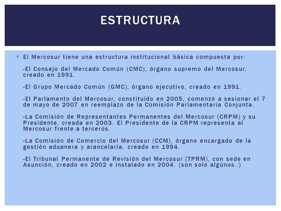  El Mercosur tiene una estructura institucional básica compuesta por: -El Consejo del Mercado Común (CMC), órgano supremo del Mercosur, creado en 199