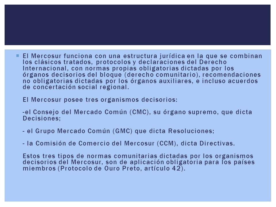  El Mercosur funciona con una estructura jurídica en la que se combinan los clásicos tratados, protocolos y declaraciones del Derecho Internacional,