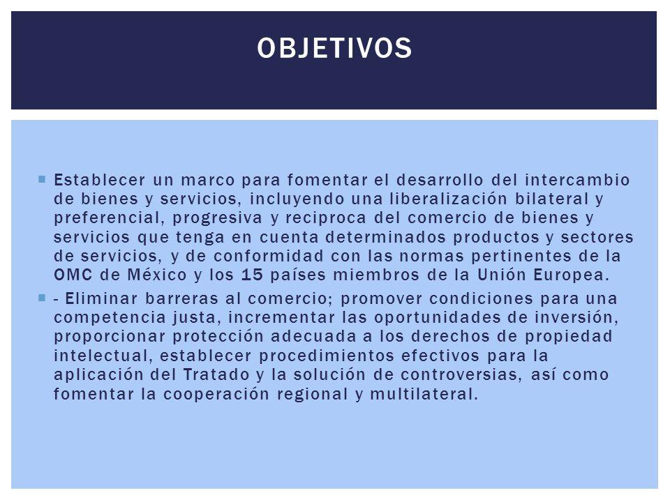  Establecer un marco para fomentar el desarrollo del intercambio de bienes y servicios, incluyendo una liberalización bilateral y preferencial, progr