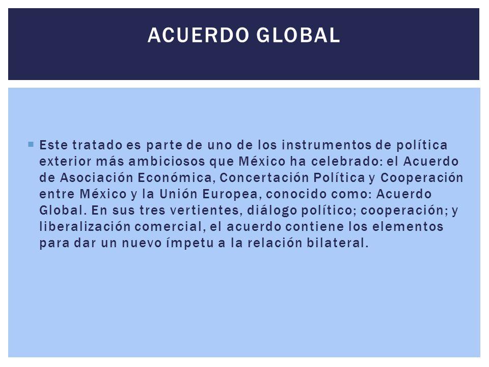  Este tratado es parte de uno de los instrumentos de política exterior más ambiciosos que México ha celebrado: el Acuerdo de Asociación Económica, Co