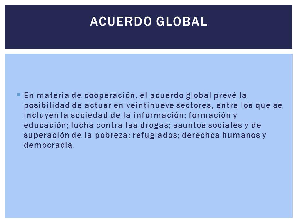  En materia de cooperación, el acuerdo global prevé la posibilidad de actuar en veintinueve sectores, entre los que se incluyen la sociedad de la inf