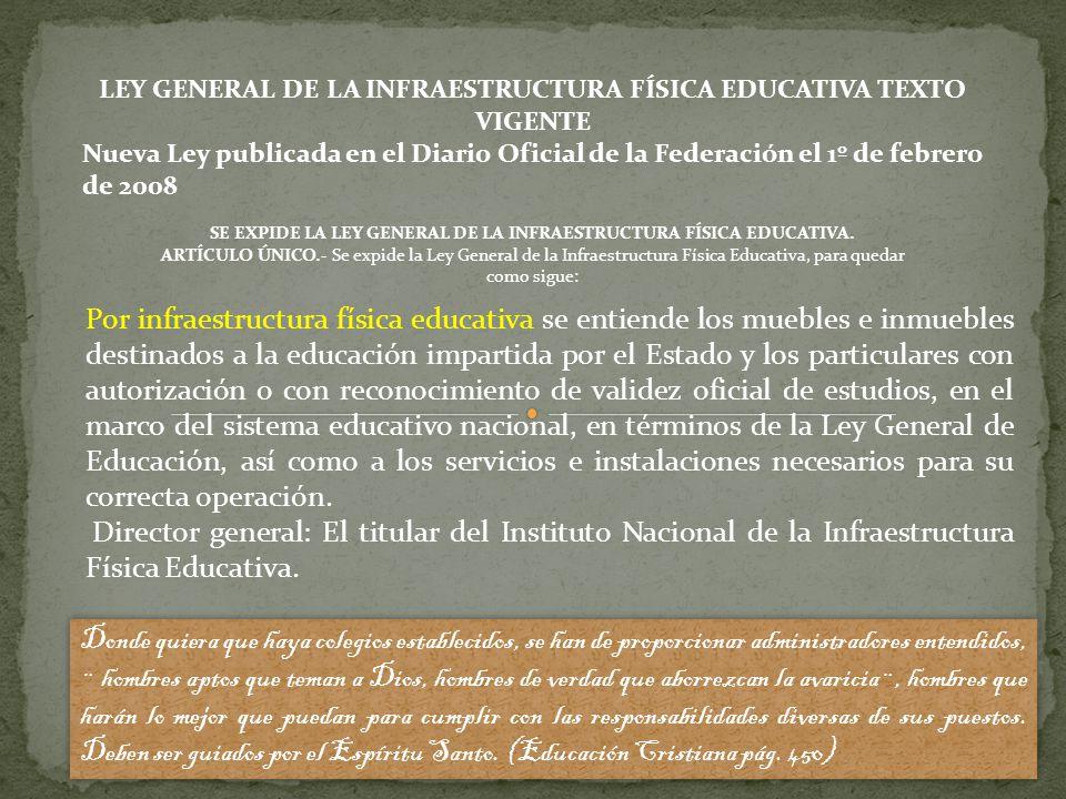 Por infraestructura física educativa se entiende los muebles e inmuebles destinados a la educación impartida por el Estado y los particulares con auto