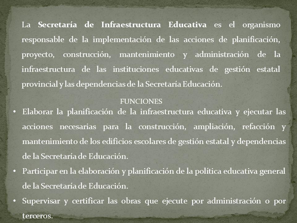 La Secretaría de Infraestructura Educativa es el organismo responsable de la implementación de las acciones de planificación, proyecto, construcción,
