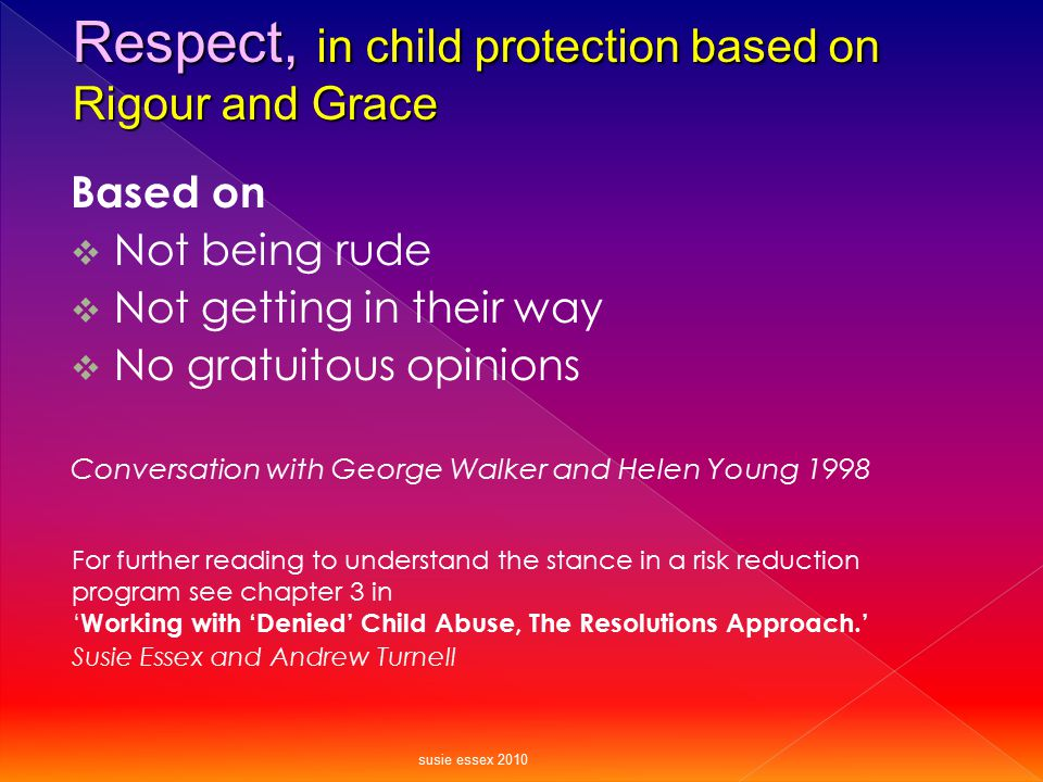 Based on  Not being rude  Not getting in their way  No gratuitous opinions Conversation with George Walker and Helen Young 1998 Respect, in child p