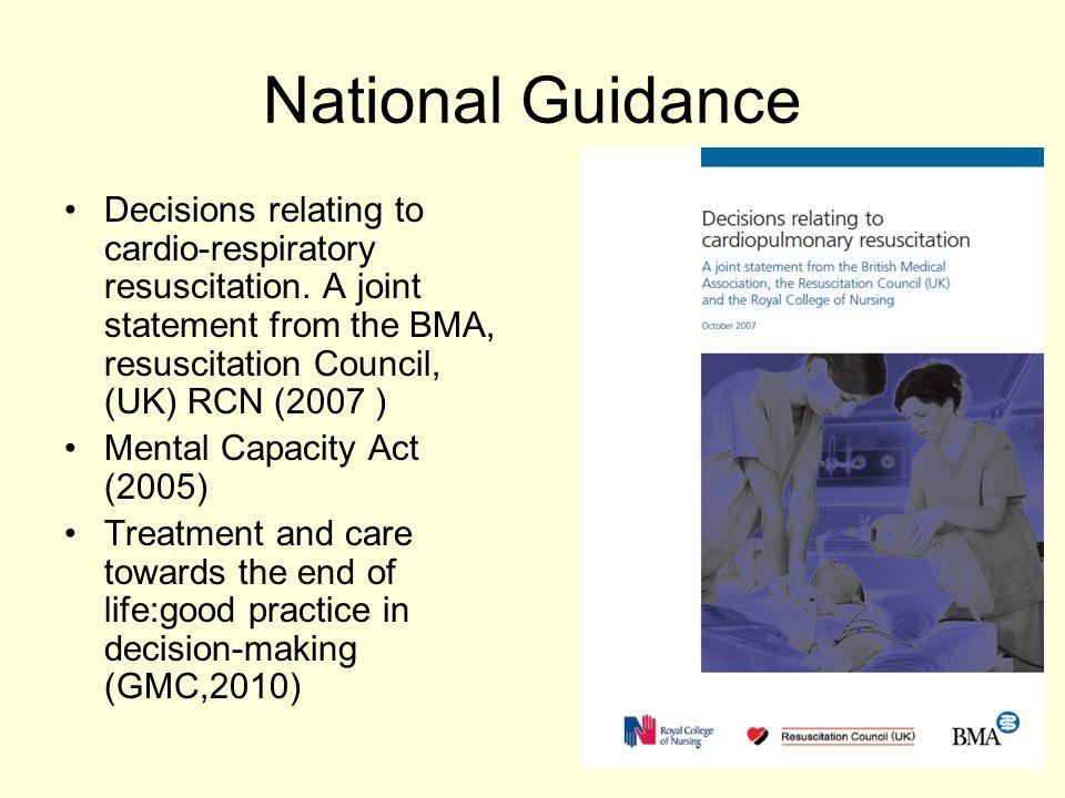National Guidance Decisions relating to cardio-respiratory resuscitation.