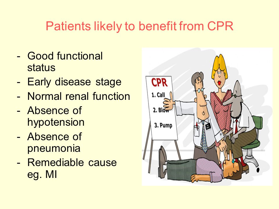 Patients likely to benefit from CPR -Good functional status -Early disease stage -Normal renal function -Absence of hypotension -Absence of pneumonia -Remediable cause eg.