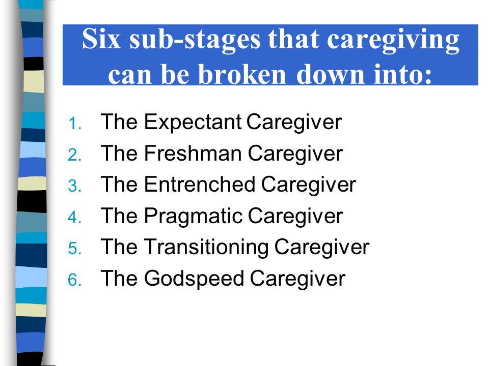 Six sub-stages that caregiving can be broken down into: 1. The Expectant Caregiver 2. The Freshman Caregiver 3. The Entrenched Caregiver 4. The Pragma