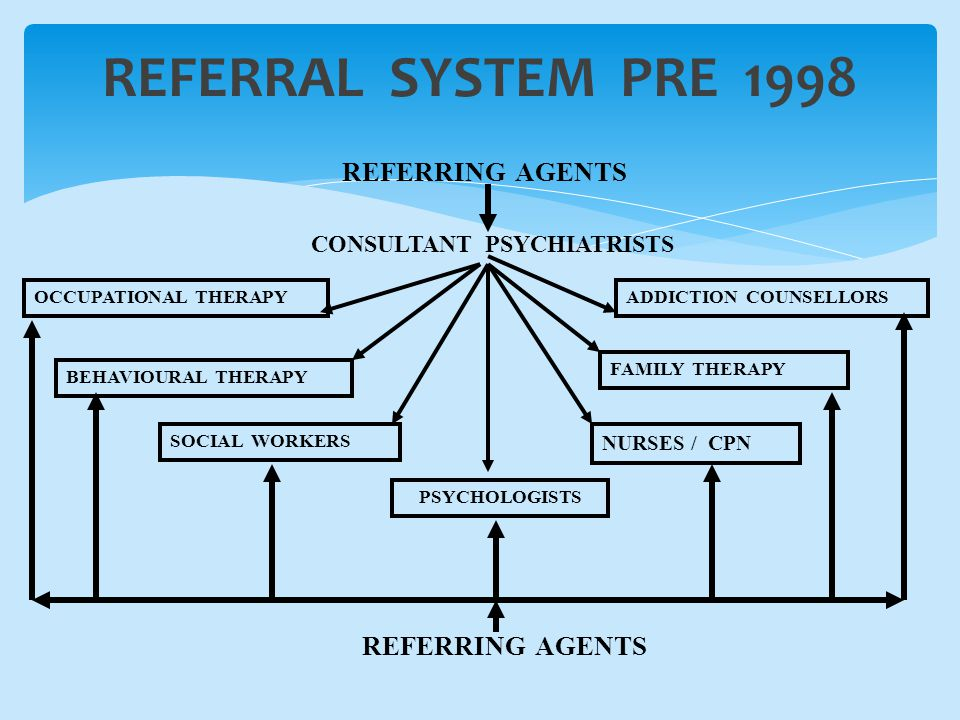 REFERRAL SYSTEM PRE 1998 REFERRING AGENTS CONSULTANT PSYCHIATRISTS OCCUPATIONAL THERAPY BEHAVIOURAL THERAPY SOCIAL WORKERS PSYCHOLOGISTS NURSES / CPN FAMILY THERAPY ADDICTION COUNSELLORS REFERRING AGENTS