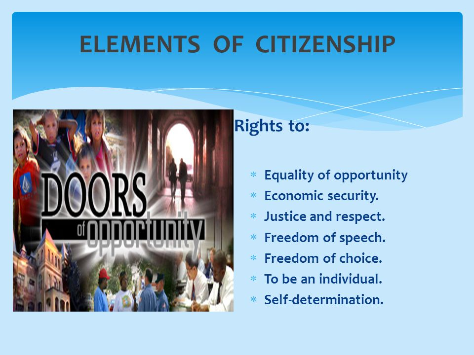ELEMENTS OF CITIZENSHIP Rights to:  Equality of opportunity  Economic security.