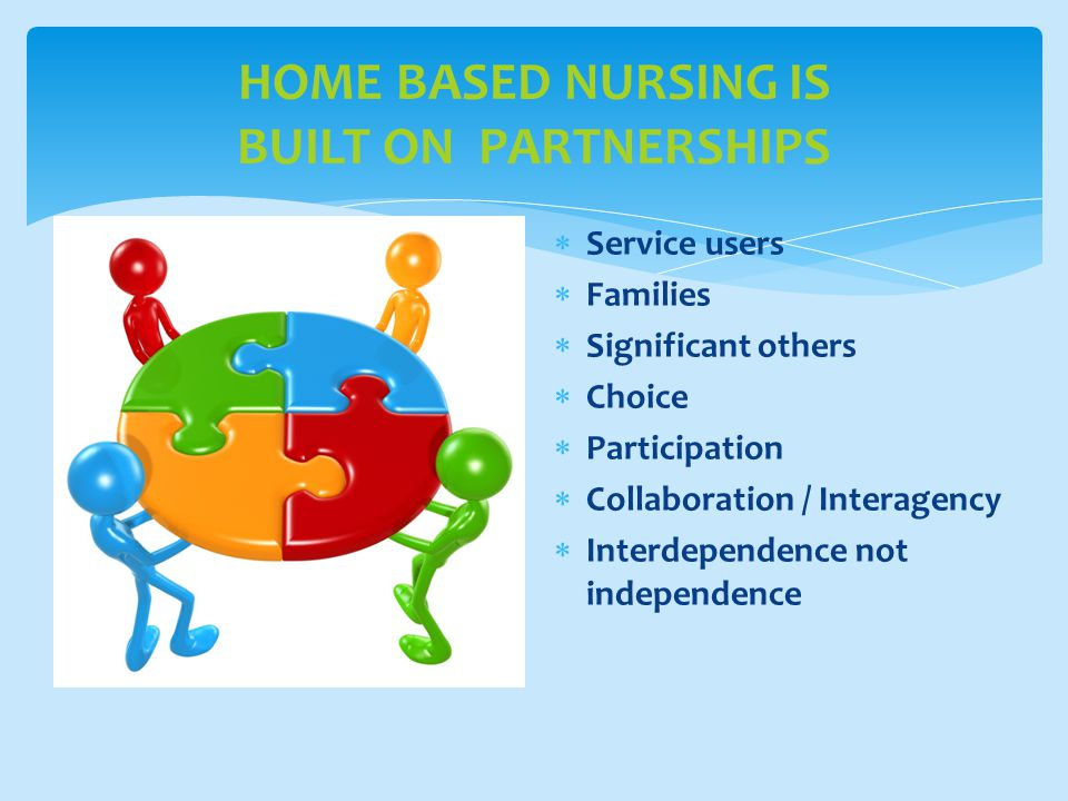 HOME BASED NURSING IS BUILT ON PARTNERSHIPS  Service users  Families  Significant others  Choice  Participation  Collaboration / Interagency  Interdependence not independence