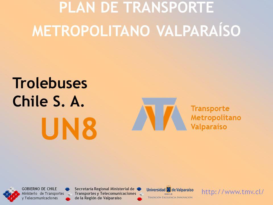 Trolebuses Chile S. A. UN8 PLAN DE TRANSPORTE METROPOLITANO VALPARAÍSO Transporte Metropolitano Valparaíso GOBIERNO DE CHILE Ministerio de Transportes