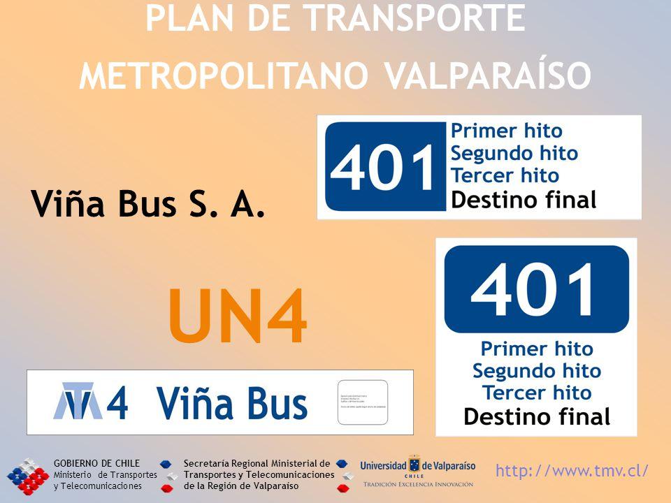 Viña Bus S. A. UN4 PLAN DE TRANSPORTE METROPOLITANO VALPARAÍSO GOBIERNO DE CHILE Ministerio de Transportes y Telecomunicaciones Secretaría Regional Mi