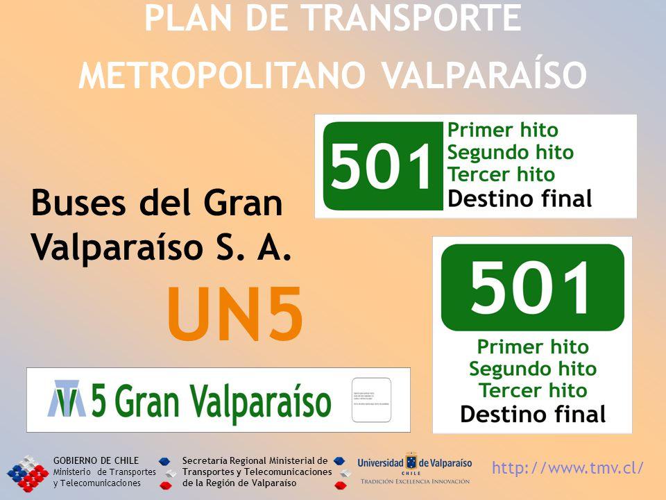 Buses del Gran Valparaíso S. A. UN5 PLAN DE TRANSPORTE METROPOLITANO VALPARAÍSO GOBIERNO DE CHILE Ministerio de Transportes y Telecomunicaciones Secre