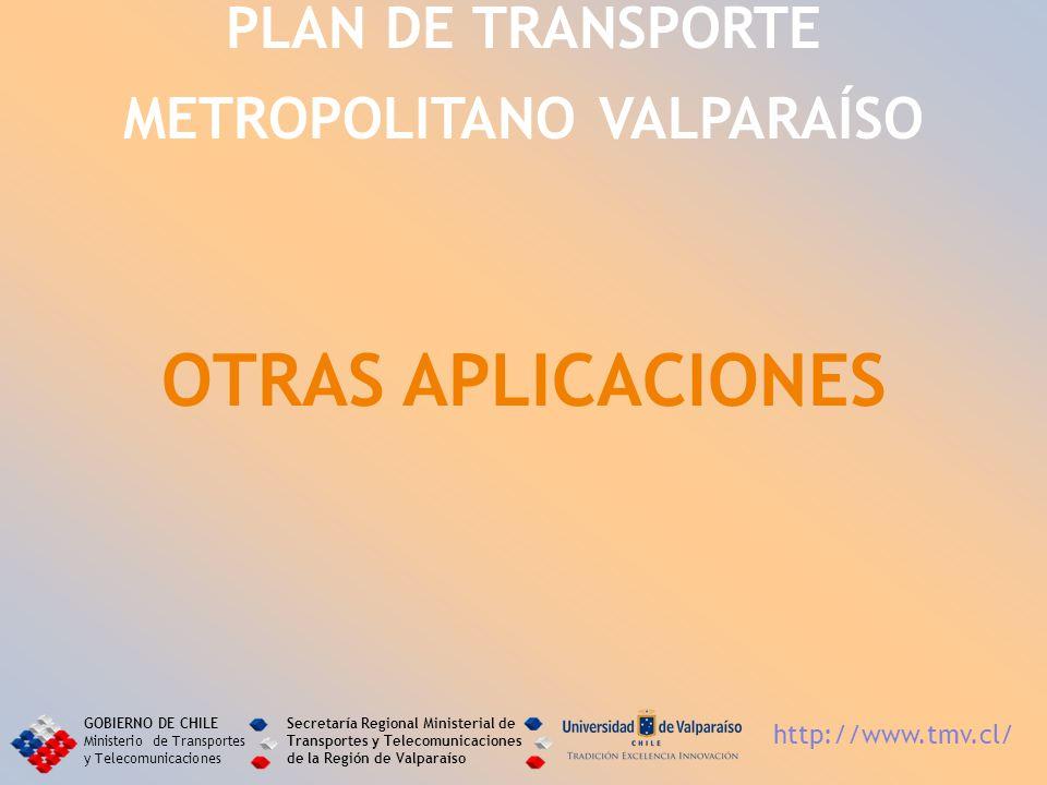 PLAN DE TRANSPORTE METROPOLITANO VALPARAÍSO OTRAS APLICACIONES GOBIERNO DE CHILE Ministerio de Transportes y Telecomunicaciones Secretaría Regional Mi